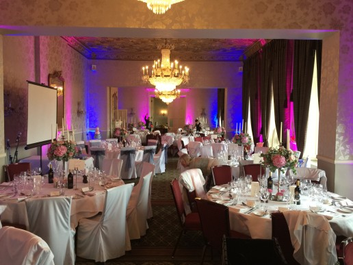 Moodlighting set to pink and blue in the Moncreif Suite