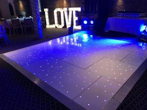 White Starlit Dance Floor Saxon Mill Warwicshire