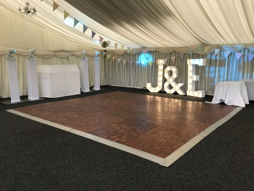 disco and light up letters in marquee