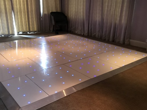 White dance floor with blue LEDs