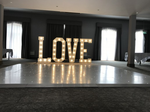 Dance floor and LOVE letters at Walton Hall
