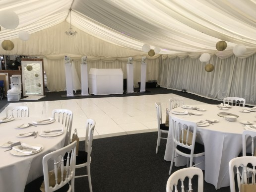 White disco and white dance floor in marquee