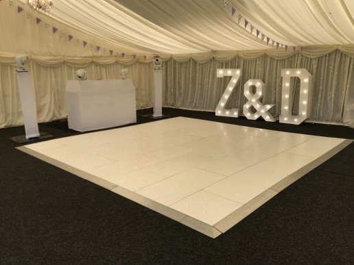 Dance Floor, Light Up letters and White Disco setup in Marquee