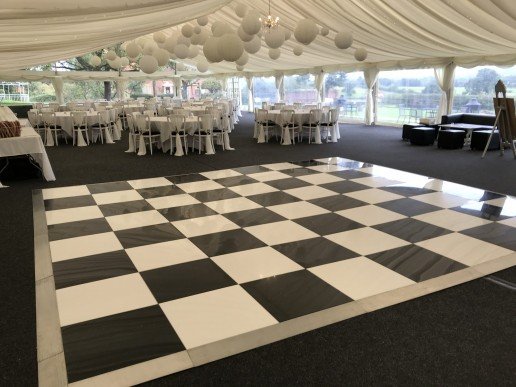 Black and white marquee dance floor