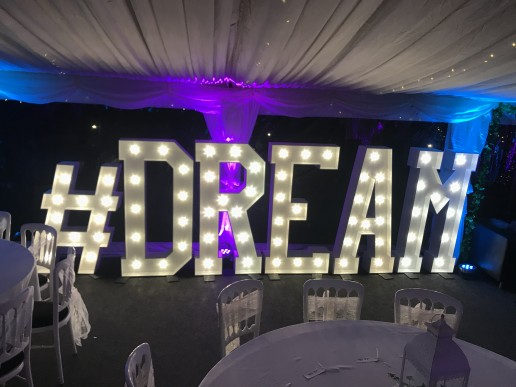 Light up letters spelling #dream