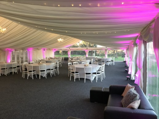 pink moodlighting in marquee