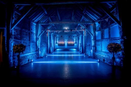 blue moodlighting across floor