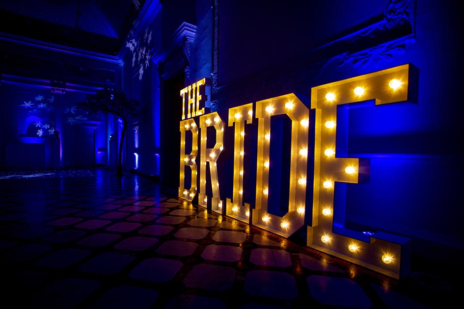 Light up letters at Compton Verney