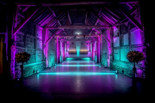pink and purple uplighting hire worcester